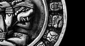 image of glyphs  - carved glyphs on a stone Mayan calendar - JPG