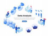 Data, Business Analysis Isometric Landing Page. Smm, Seo, Stock Market Analytics, Metrics, Statistic poster