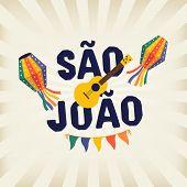 Brazilian Traditional Celebration Festa Junina. Portuguese Brazilian Text Saying Saint John. Festa D poster