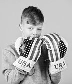 Start Boxing Career. Boy Sportsman Wear Boxing Gloves With Usa Flag. American Boxer Concept. Child S poster