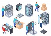 Server Room Isometric. Information Technology Server Engineer, Telecommunication Cloud Servers, Comp poster