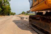 Excavator Construction Equipment Of Street Construction. Business Construction. Construction Site On poster