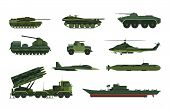 Set Of Isolated Military Vehicle Icons. Tank And Aircraft, Helicopter And Submarine, Boat Or Frigate poster