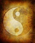 picture of ying-yang  - Yin yang symbol on a grunge background - JPG