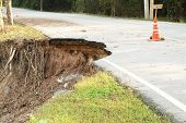 picture of landslide  - Broken and damage asphalt road by landslide - JPG