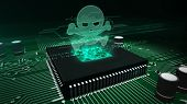 Cyber Security Concept With Skull Hologram Over Working Cpu In Background. Computer Attack, Cybercri poster