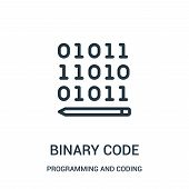 Binary Code Icon Isolated On White Background From Programming And Coding Collection. Binary Code Ic poster