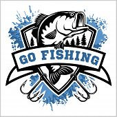 Fishing Logo. Bass Fish With Club Emblem. Fishing Theme Vector Illustration. poster