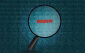 Encrypt On Digital Screen With Magnifying Glass, 3d Rendering poster