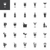Cocktails Vector Icons Set, Modern Solid Symbol Collection, Filled Style Pictogram Pack. Signs, Logo poster