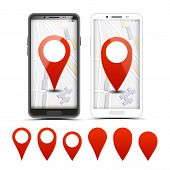 Gps Navigator Red Pointers, Markers Set. City Map Pointer, Pinpoint On Smartphone Screen. Location,  poster