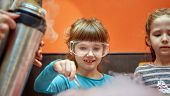 Chemical Show For Kids. Professor Carried Out Chemical Experiments With Liquid Nitrogen On Birthday  poster