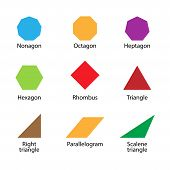Set Of 2d Shapes Vocabulary In English With Their Name Clip Art Collection For Child Learning, Color poster