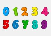 Set Colorful Numbers, Vector Cartoon Kids Figures, Number Icon poster