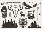 Vintage Monochrome Hunting Elements Set With Hunter And Deer Skulls Angry Bear Boar Heads Weapon Gun poster
