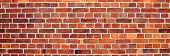 Panoramic Image Of Red Brick Wall. Texture Of Red Brick Wall. Background Of Red Brick Wall poster