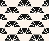 Vector Minimalist Pattern With Triangles, Pyramid Shapes. Black And White Abstract Geometric Texture poster