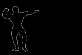 pic of body builder  - Glowing silhouette of a body builder over black - JPG