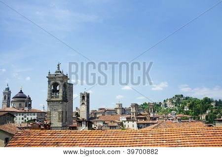 A View over Bergamo Citta Alta (the old upper town of Bergamo), Lombardy, Italy.