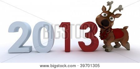 3D Render of a cute reindeer charicature bringing in the new year
