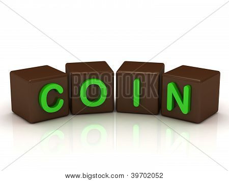 Coin Inscription Bright Green Letters