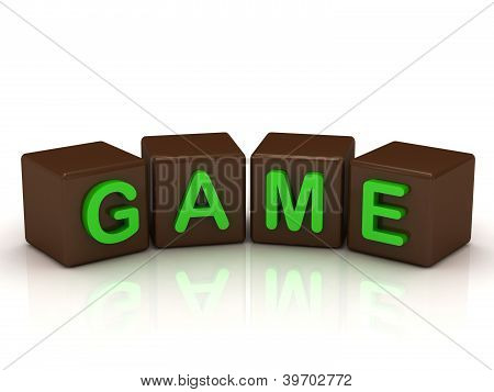 Game Inscription Bright Green Letters