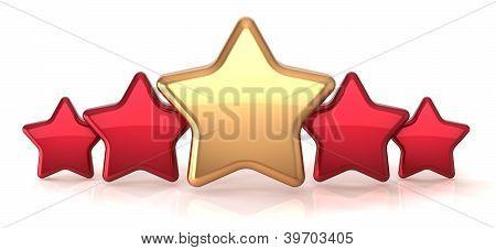 Gold star leadership inside red stars award success decoration