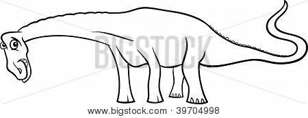 Cartoon Diplodocus Dinosaur For Coloring Book