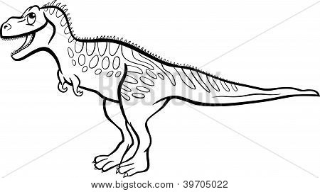 Cartoon Tarbosaurus Dinosaur For Coloring Book