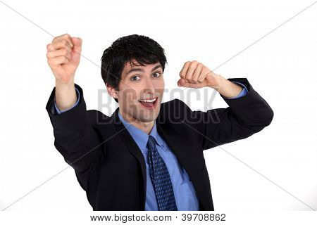 Triumphant businessman