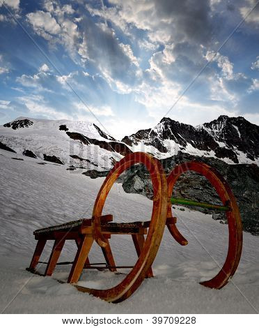 old wooden sledge in Swiss Alps