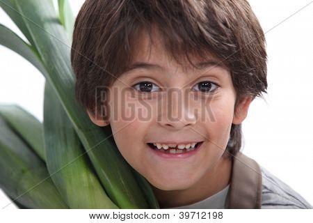 portrait of child in gardener clothes