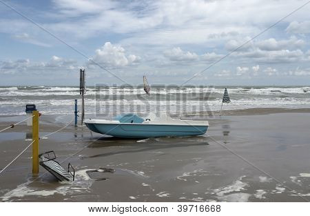 Green Boat At Ebb Tide