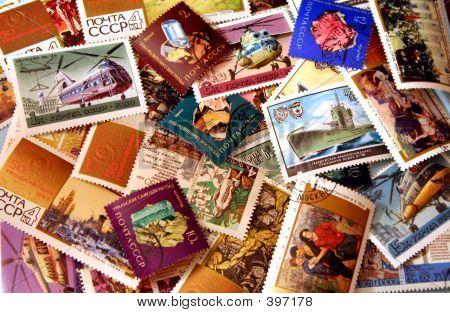 Vintage Soviet Stamp Background 2
