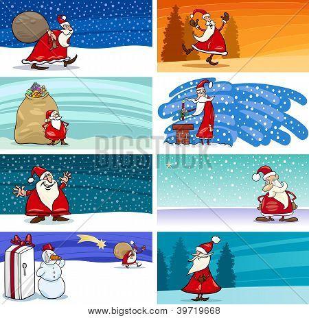 Cartoon Greeting Cards With Santa Claus