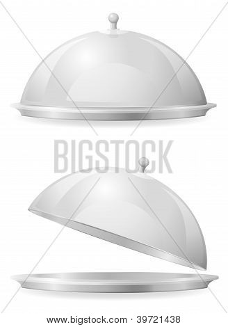Food Tray And Lid For Restaurant Vector Illustration