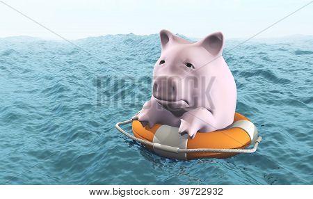 Pink Piggy On Life Preserver