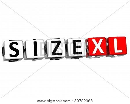 3D Size Xl Button Click Here Block Text