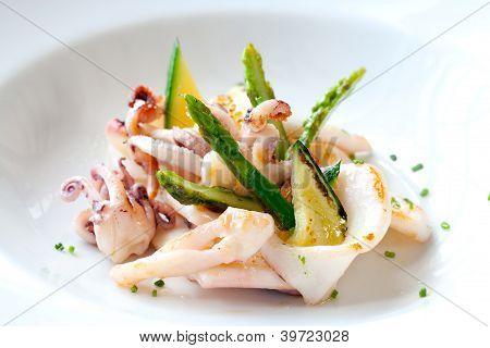 Grilled Calamari With Green Asparagus.