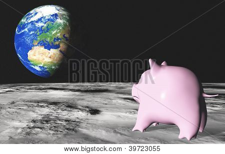 Pink Piggy On The Moon