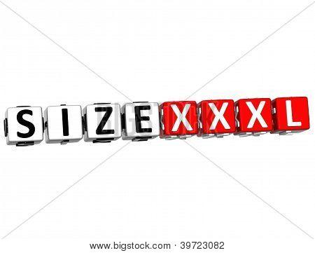 3D Size Xxxl Button Click Here Block Text