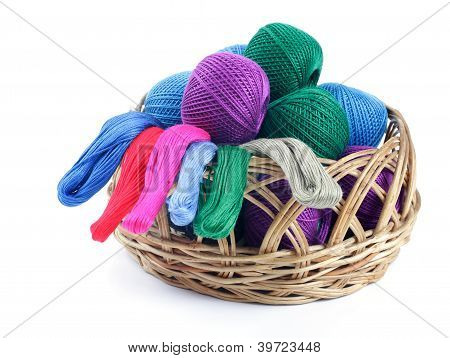 Ns Of Different Colors For Embroidery In The Basket.