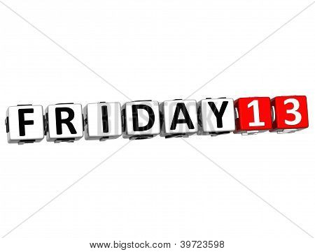 3D Friday 13 Button Click Here Block Text