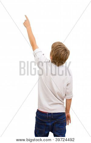 Boy Facing With Back Pointing.