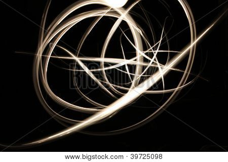 Abstract Glowing Neon Light Curves In Gold