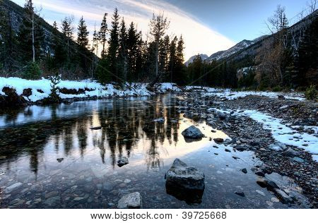 Waterton River In Winter