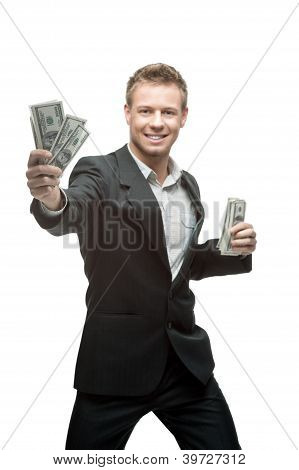 happy businessman holding money