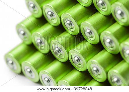 Green AAA or AA batteries stack