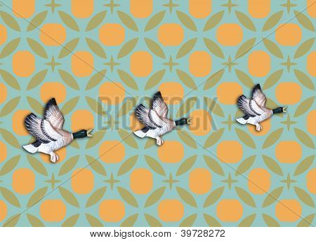 Vintage Wallpaper With Three Flying Ducks