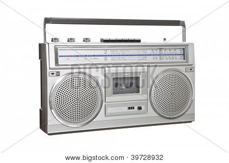 Vintage boom box blaster portable stereo with clipping path.